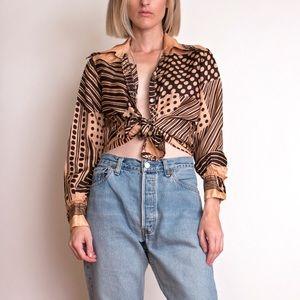Vintage 70s brown polka dot stripe blouse top